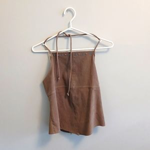 Suede halter top. Medium, tan with blue and silver gems.